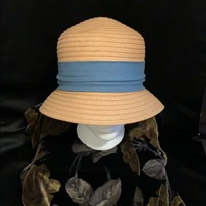 Paper-straw cloche hat with turquoise band